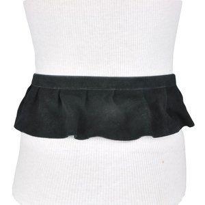 BCBG Black Leather Velvet Peplum Belt